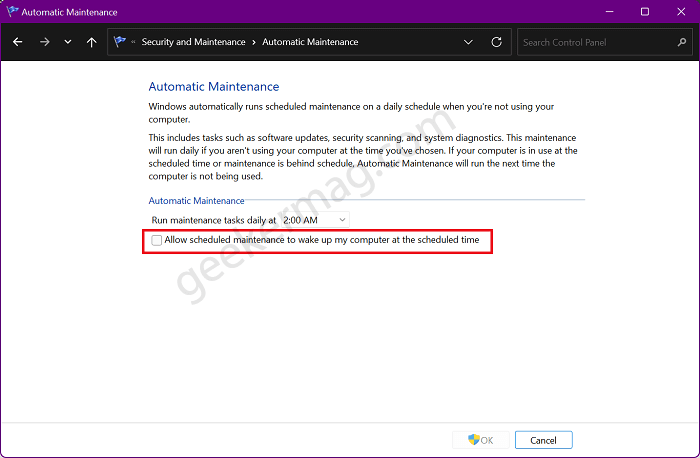 Allow scheduled maintenance to wake up my computer at the scheduled time
