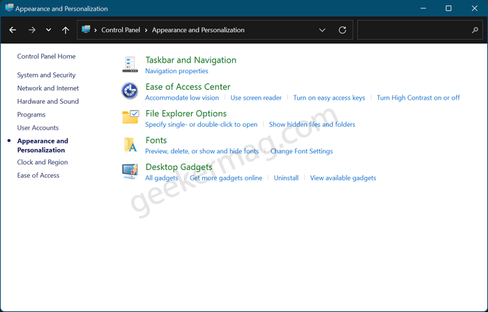 Access Windows Desktop gadgets from Control panel