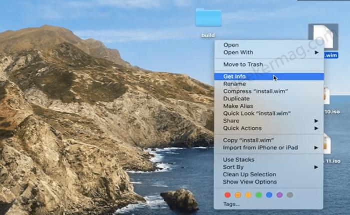 get info of install.wim in mac