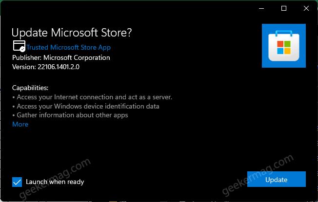 microsoft store update manually