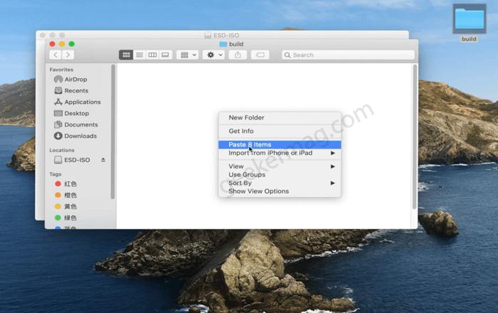paste files in new folder