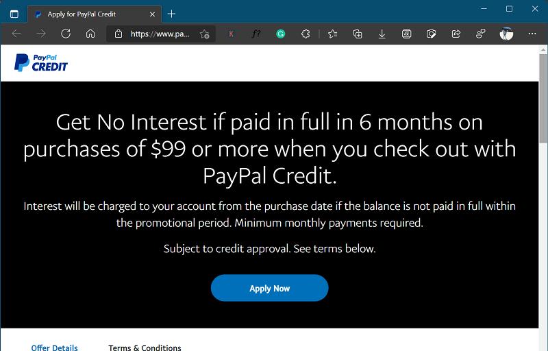 Paypal credit - app like klarna