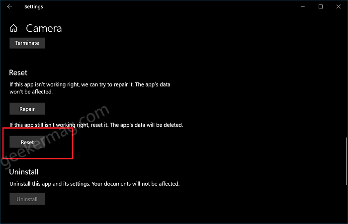 Reset Camera app in Windows 10