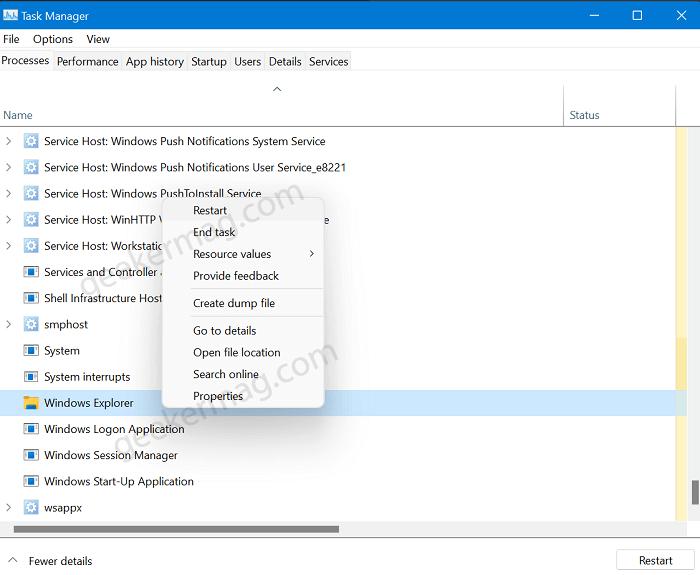 Restart Windows Explorer from Taskbar Manager in windows 11