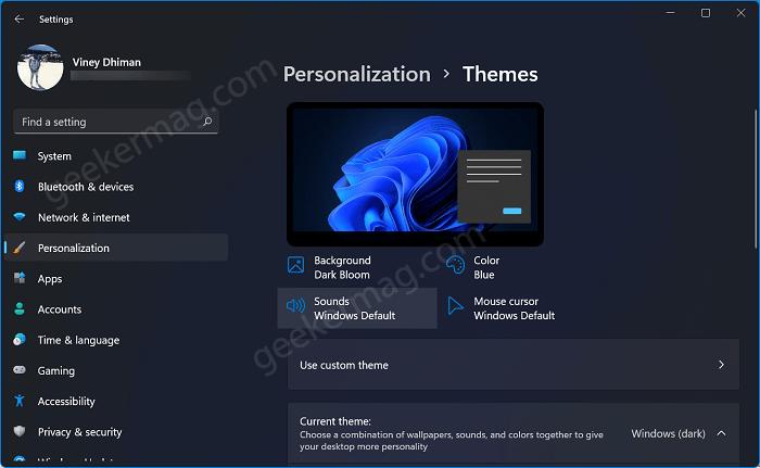 Windows 11 Sounds settings