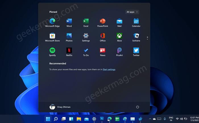 Windows 111 start menu