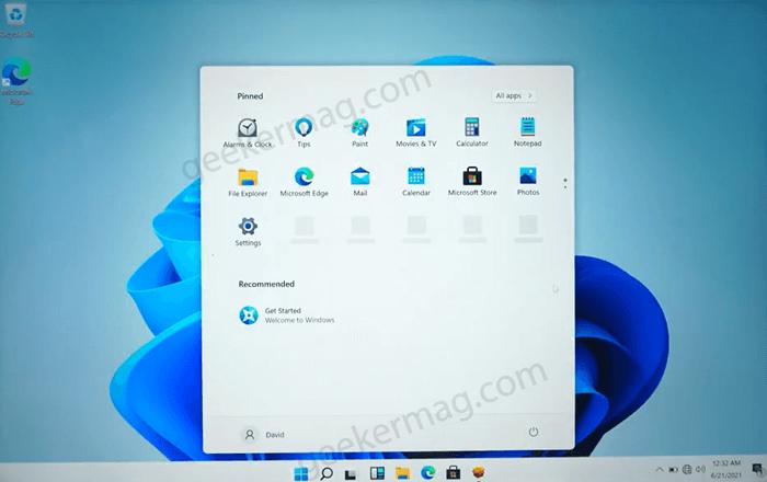 Windows 11 home screen on mac