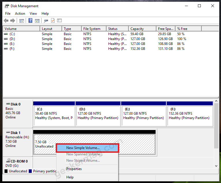 Create New Volume in DIsk Management tool