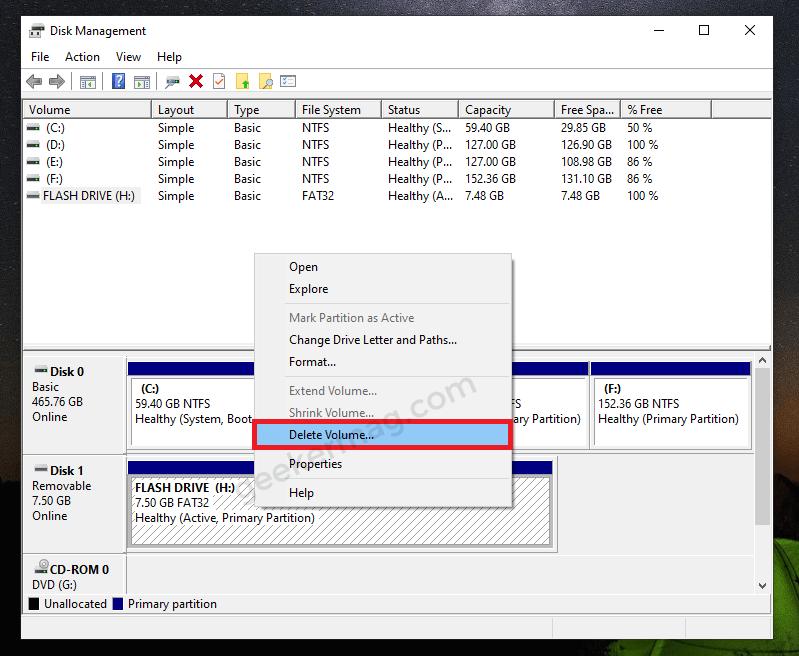 Disk Volume in Disk Management tool