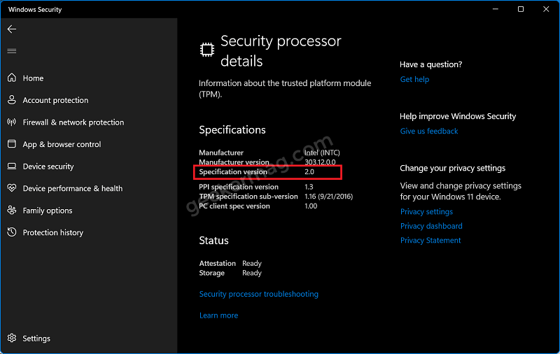 Check If Your PC has TPM 2.0 using Device Security