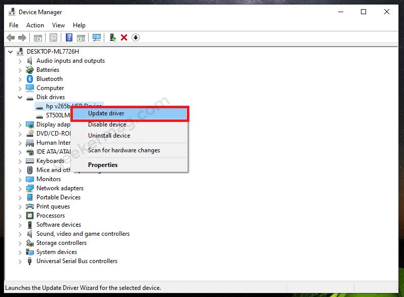 Update disk drive driver in windows 10