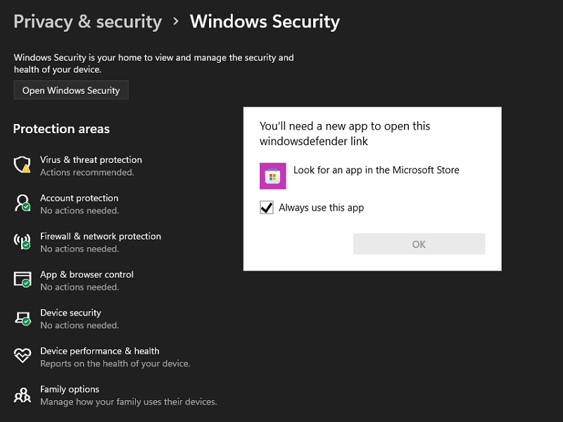 Fix - Unable to Open Windows Defender Settings in Windows 11 Latest Build
