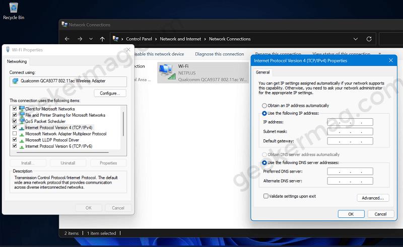 Change IP Settings using control panel