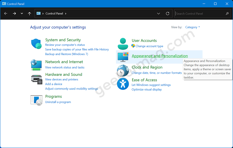 Control Panel Appearance and personalization - Windows 11