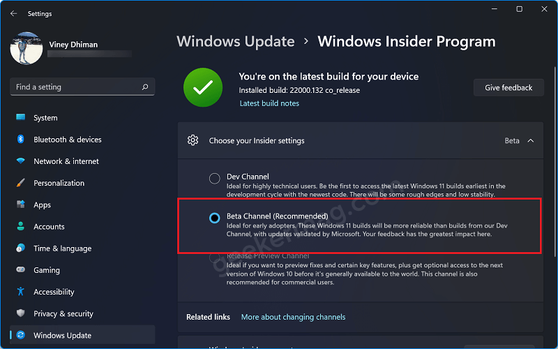 Windows 11 Beta channel recommended