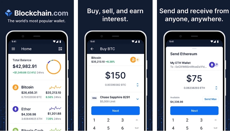 Blockchain - best cryptocurrency apps for android and iso