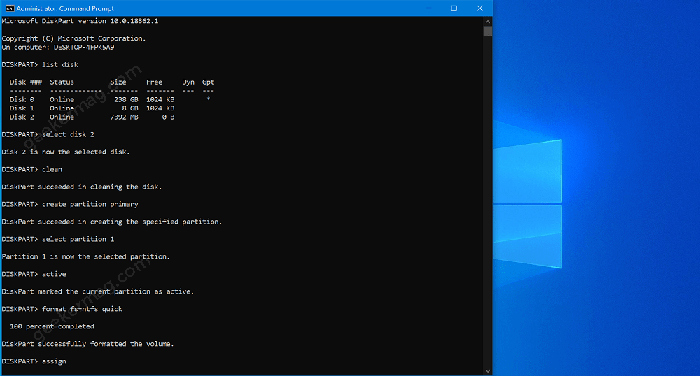 Try Cleaning The Disk Using Command Prompt