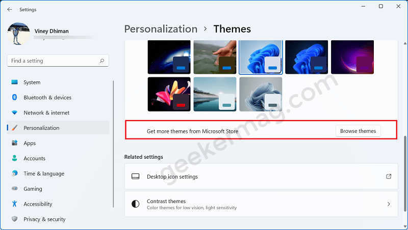 Get more themes from Microsoft Store