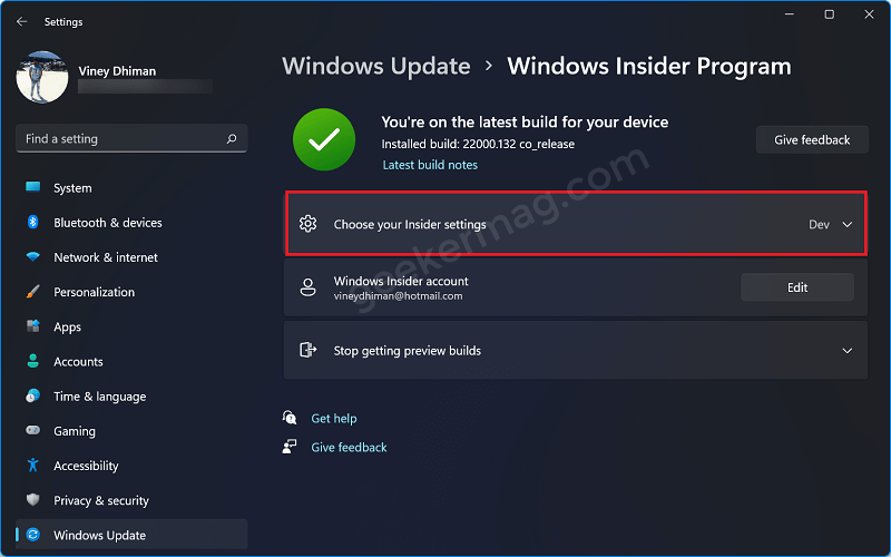 Choose your insider settings in Windows 11