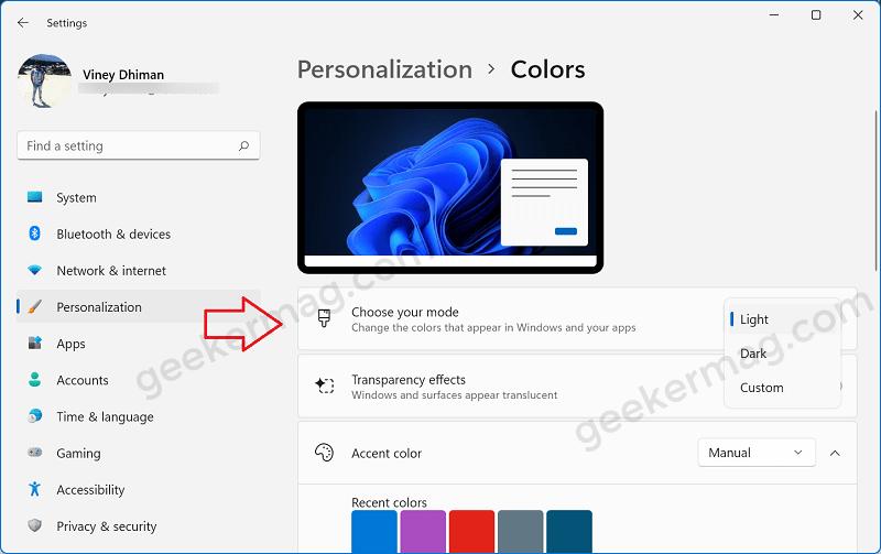Choose your mode windows 11