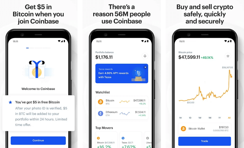 Coinbase - best cryptocurrency apps for android and iso