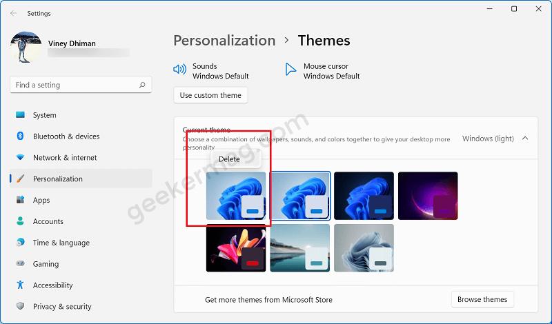 delete aero lite theme in windows 11