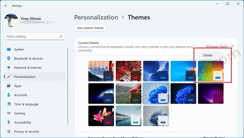Delete theme in windows 11