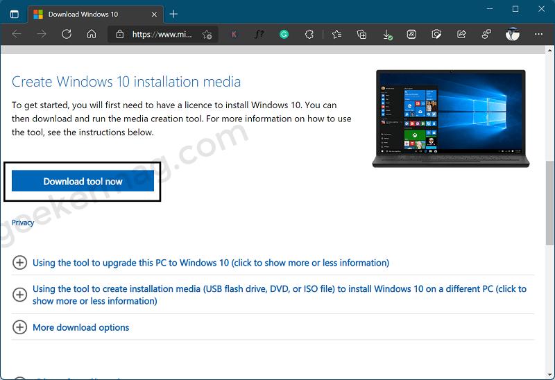 Download Media Creation tool