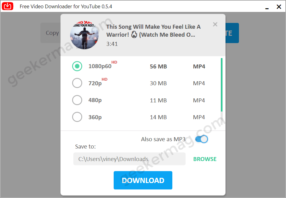Video Quality list in Notmp3