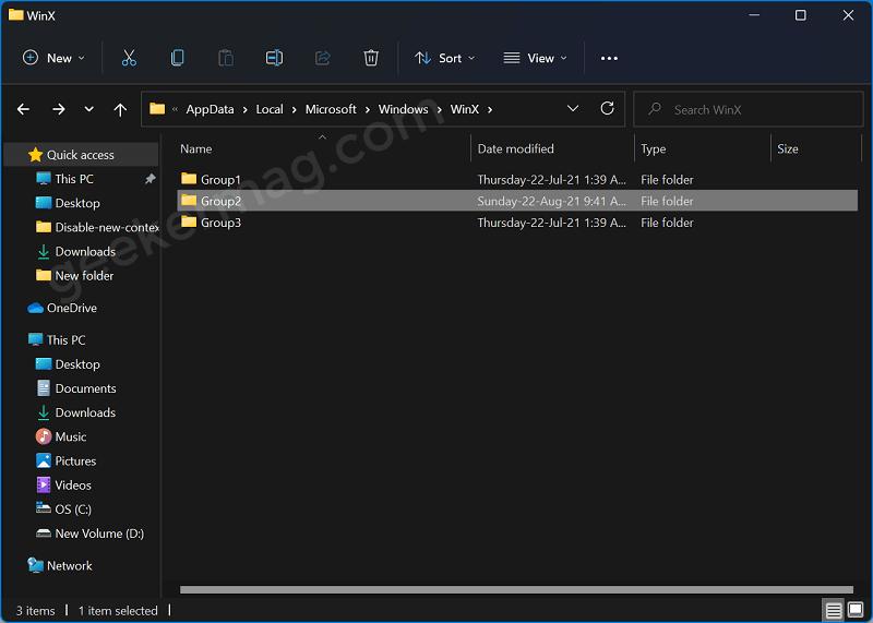 Windows 11 Winx menu tool group folder
