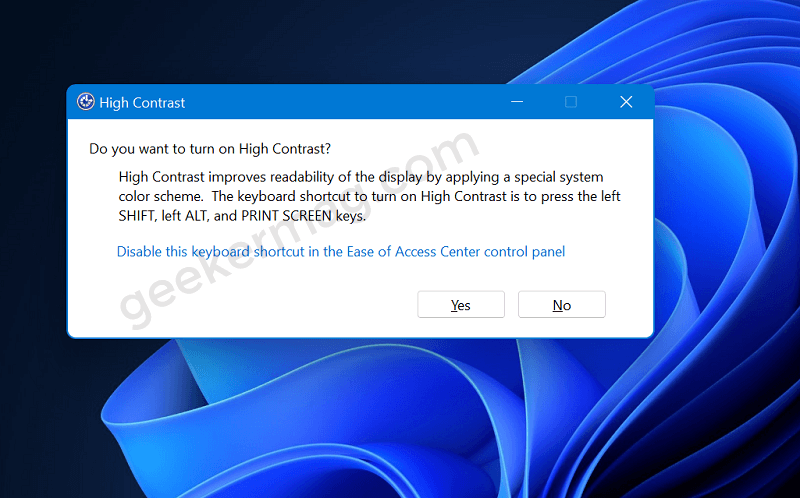 high contrast theme popup