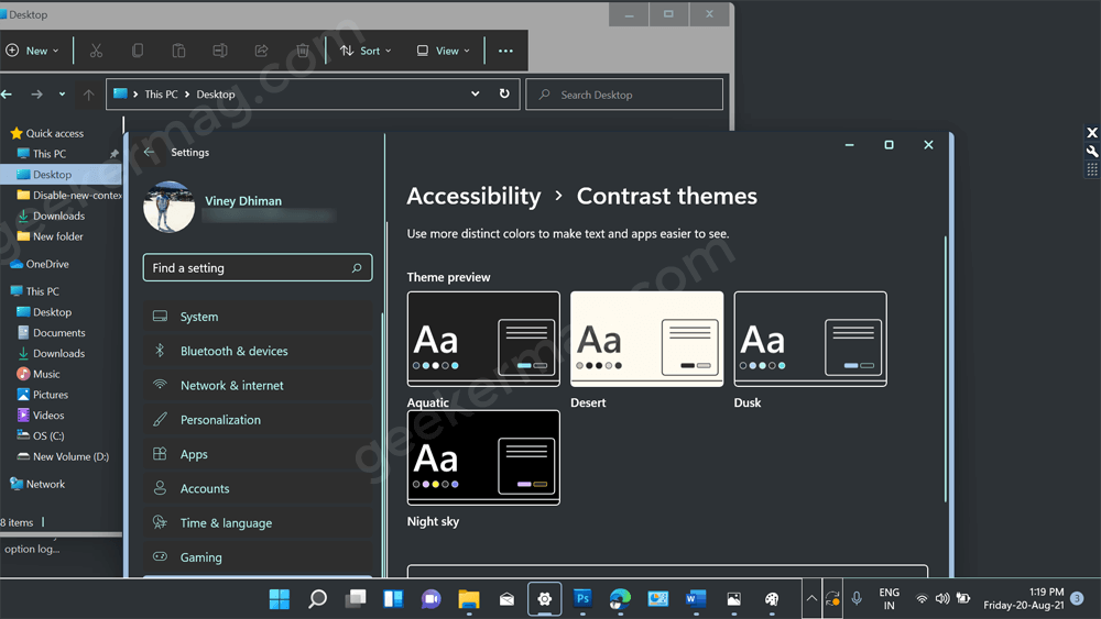 How To Enable/Disable High Contrast Theme in Windows 11