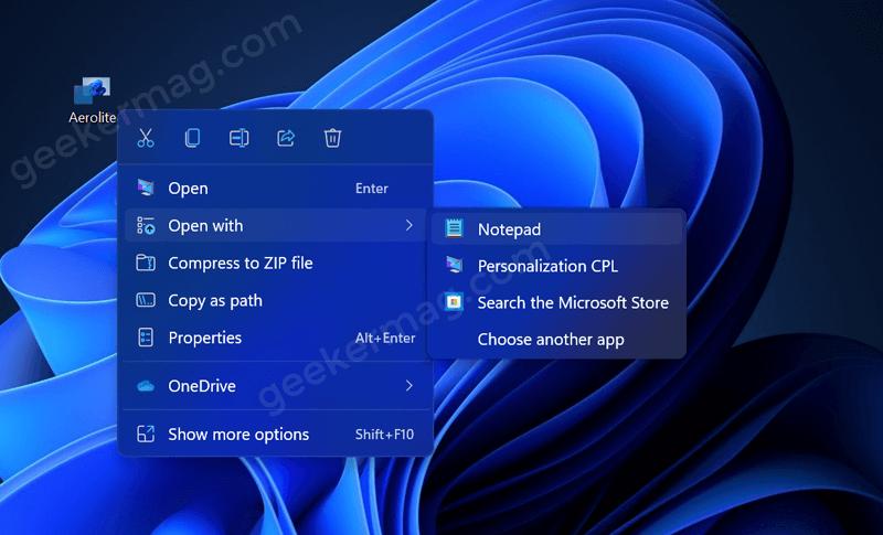 Open aero theme with notepad