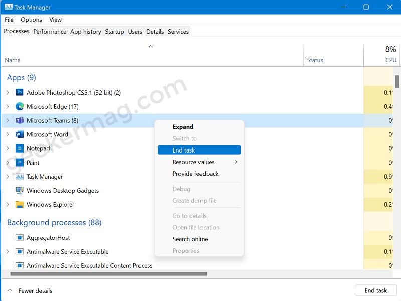 End task of Microsoft Teams app in Windows 11