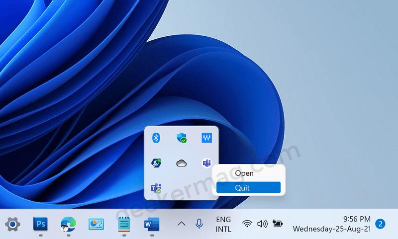 quit teams app from taskbar of Windows 11