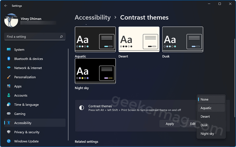 select high contrast theme in windows 11