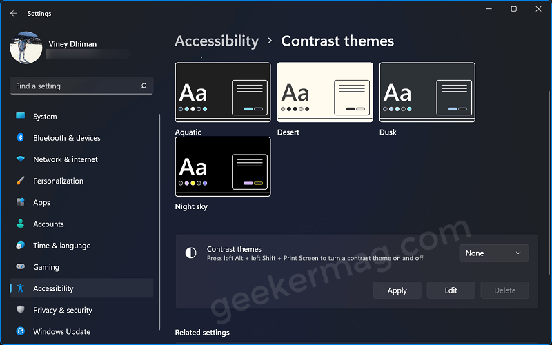 Disable  high contrast theme in windows 11