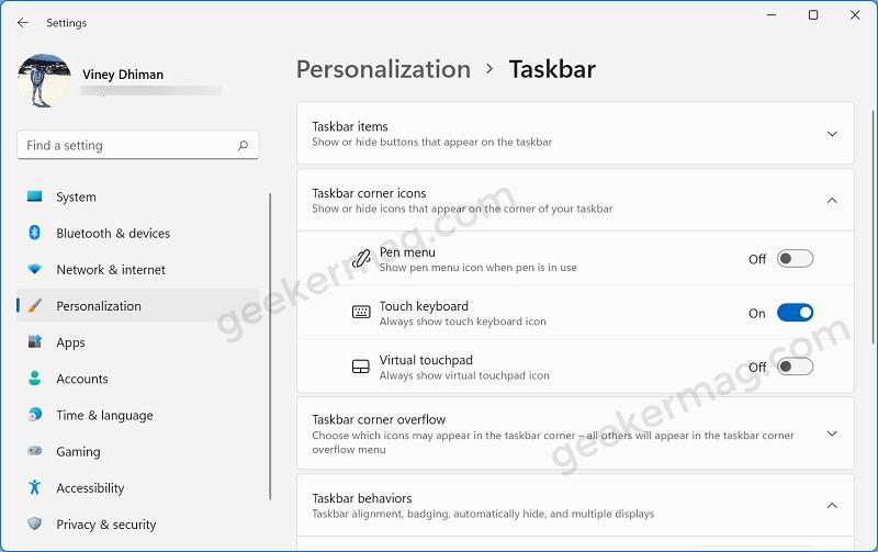 taskbar corner icons options