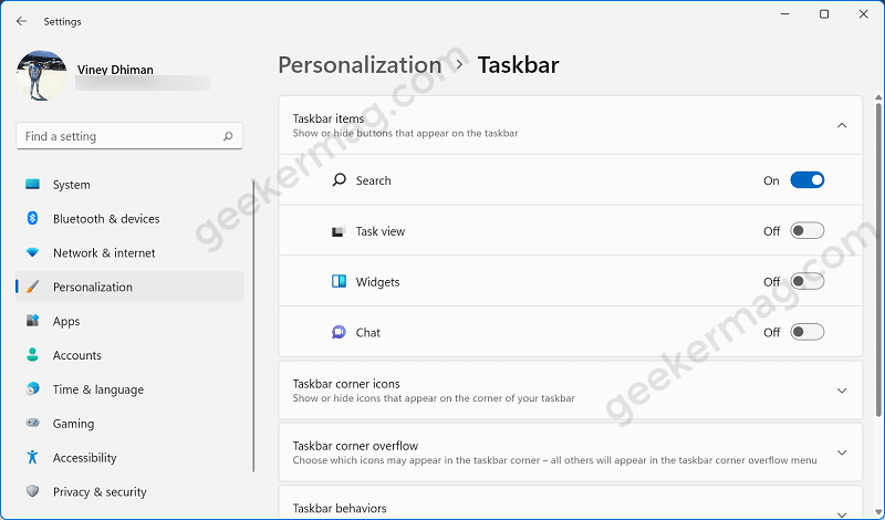 taskbar items