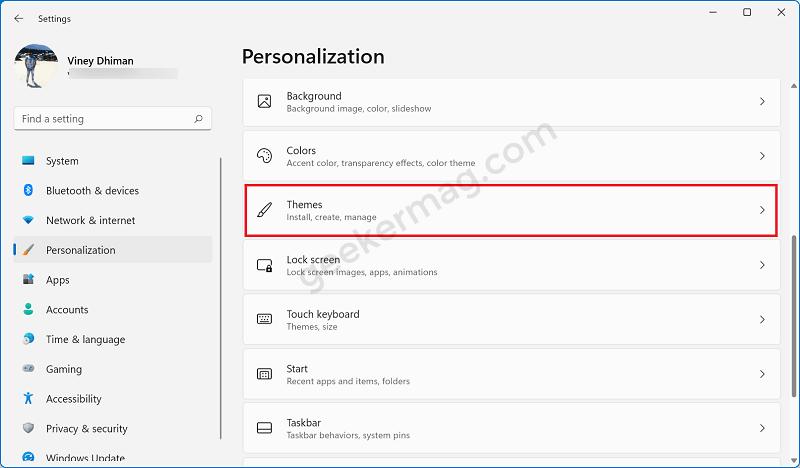 Theme settings in windows 11