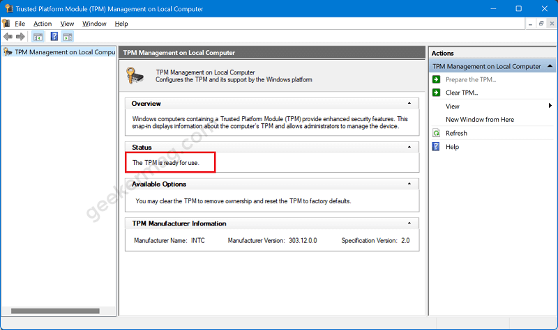 Check If Your PC has TPM 2.0 using TPM Manufacturer information