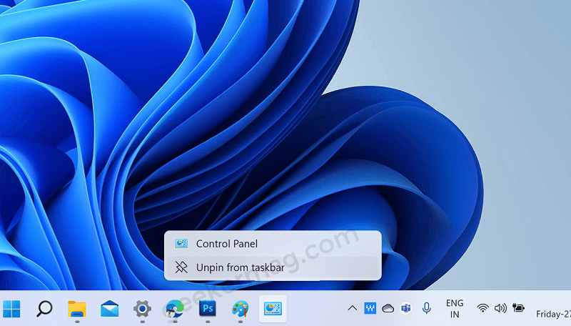 unpin app to taskbar of Windows 11