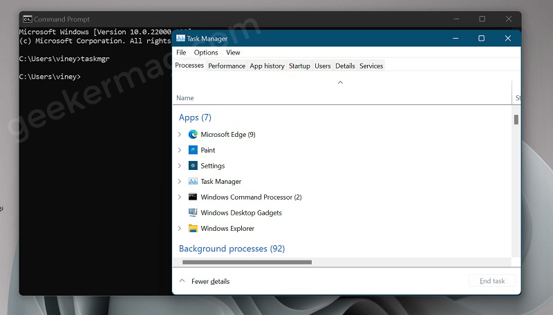 Open task manager in Windows 11 from Command  Prompt