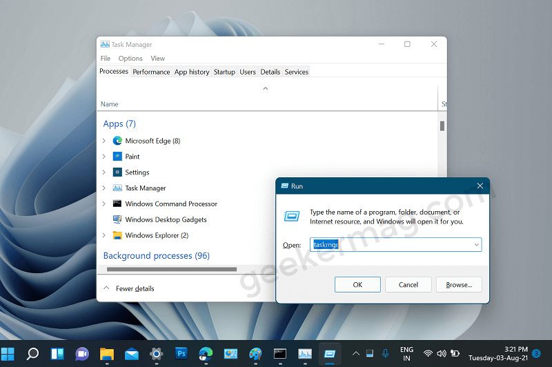 Open task manager in Windows 11 from Run dialog box