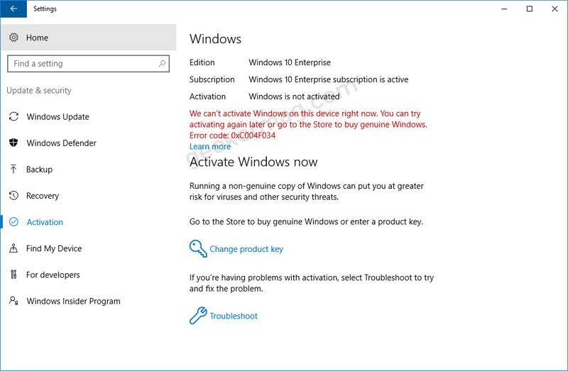 windows 10 enterprise activated