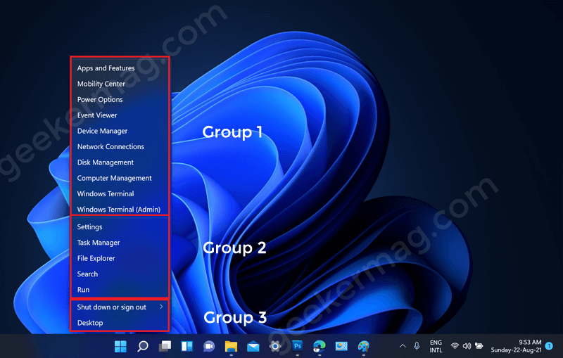 Windows 11 Winx menu tool group