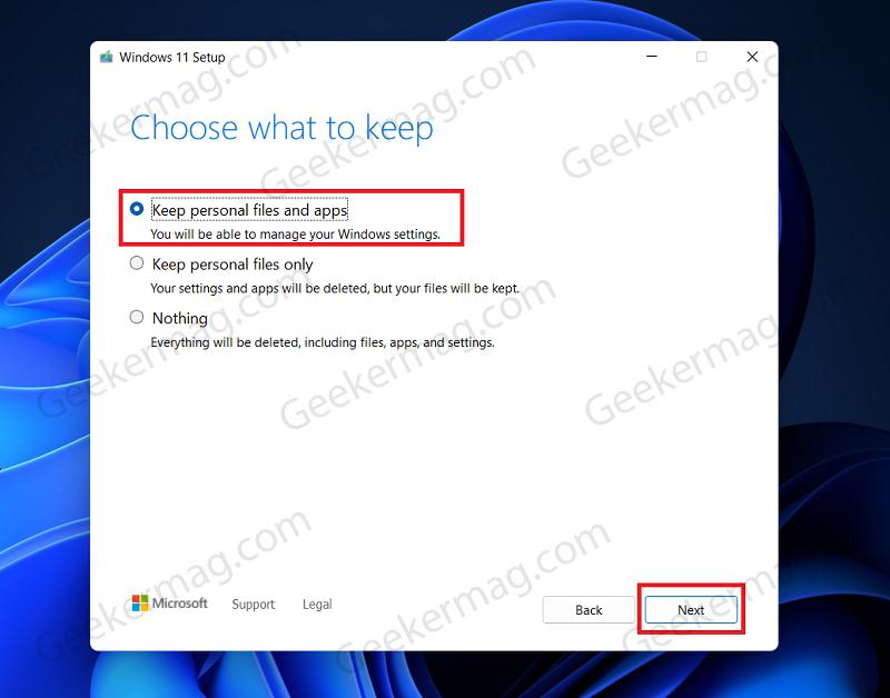 Choose What To Keep option windows 11 setup
