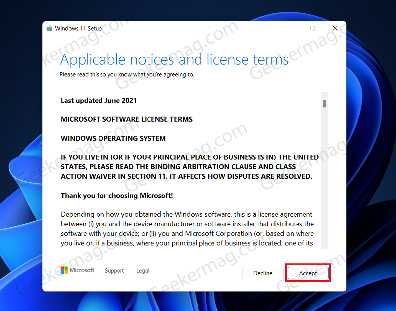 Terms Of Service windows 11 setup