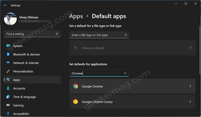 Set default for applications in Windows 11