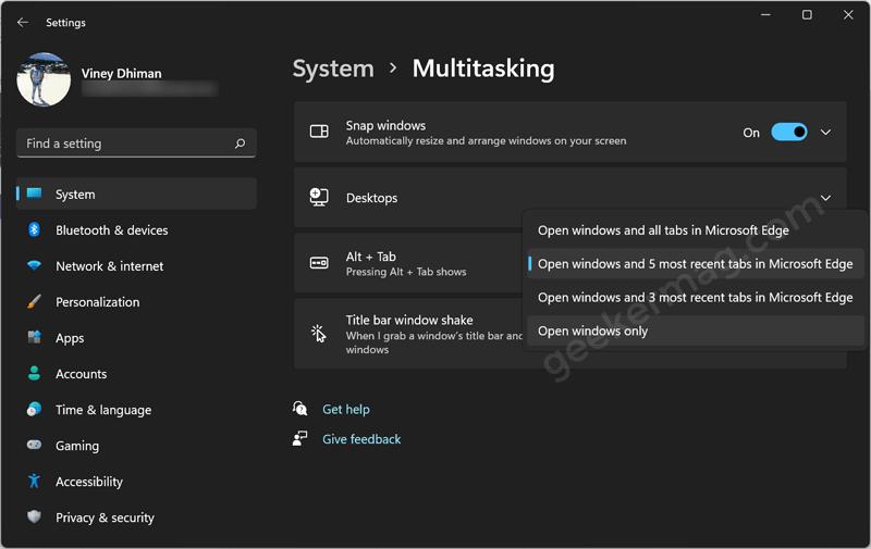 Atl + Tab Settings in windows 11
